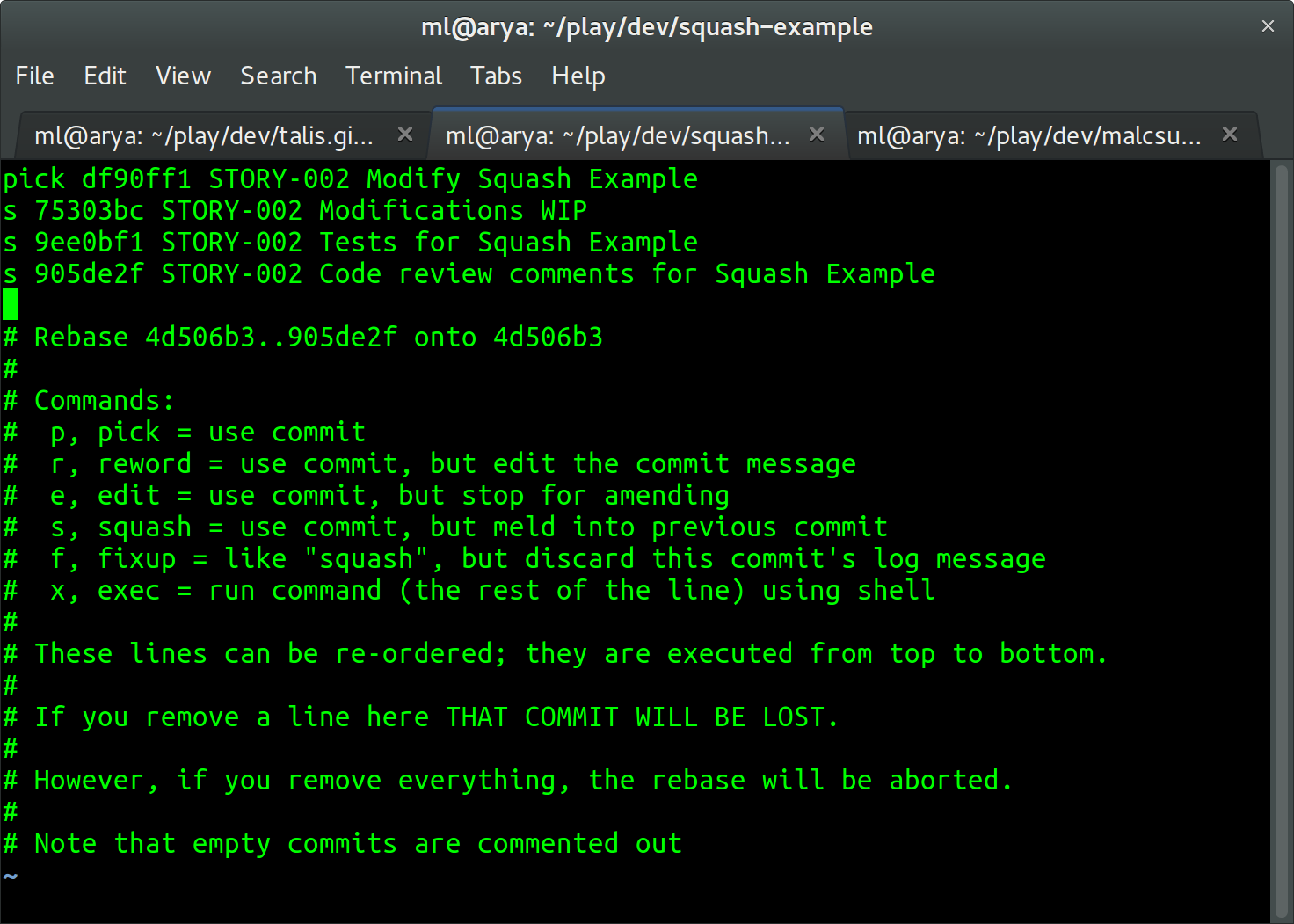 Screenshot of the author selecting commits to squash